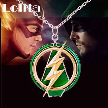 2016 New The Flash And Arrow Pendant Necklace For Men Women Green Yellow Lightning XL635