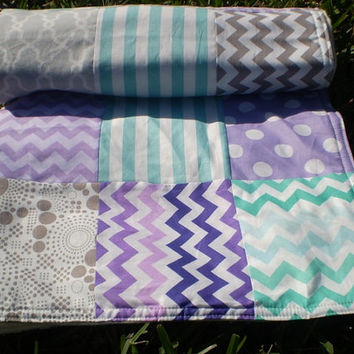 Baby quilt,Teal,grey,lavender,purple,aqua,Patchwork Crib quilt, unisex bedding,baby boy bedding, baby girl quilt,chevron,polka dots,newborn