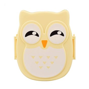 1PC Cute Cartoon Owl Lunch Box Food Container Storage Box Portable Bento Box Spoon Picnic Container Hot Lunch Box Children Gift