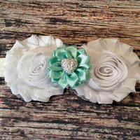 White Shabby and Teal Satin Flowers with Silver Heart Baby Girl Headband!