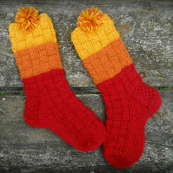 Hand knit firefly socks as Jayne Cobb hat from wool blend in basketweave red, orange, and yellow with pompom - crew length - ready to ship