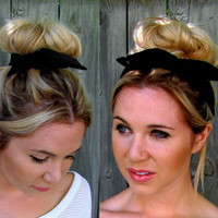 Black Bun Wire Wrap Black Wired Flex Headband Pin Up Girl Buns PonyTail Braid Ins Bun Wraps - 25 COLORS, Choose Your Color