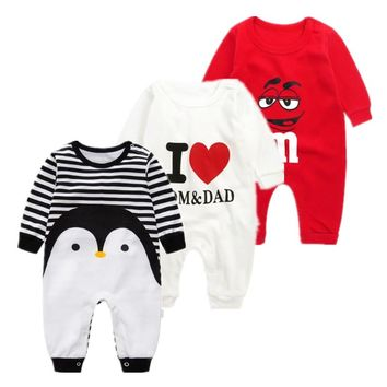2019 baby autumn spring cotton cartoon Penguin style boy clothes newborn baby girl clothing infant  jumpsuit for baby clothes 1