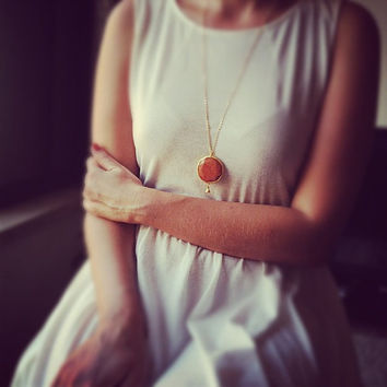 round gemstone LARGE pendant candy fox pumpking orange faceted jade stone pendant gold necklace long chain israel jewelry