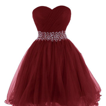 Cute Burgunry Homecoming Dress, Sweetheart neckline Homecoming Dress with Beadings, Short Prom Dress