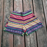 size S Shorts Tribal Hmong Handwoven Beach Hippie Boho Clothing Aztec Ethnic Bohemian Shirt Ikat Print Tank Handmade Colorful Unique Woven