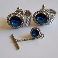 Vintage Blue Sapphire like Wrap Around Mesh CuffLinks and Tie Tac