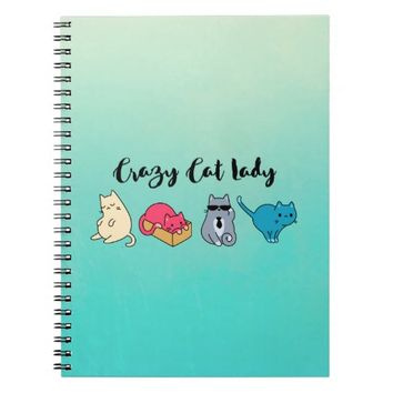 Crazy Cat Lady and 4 Cute Cats Spiral Notebook