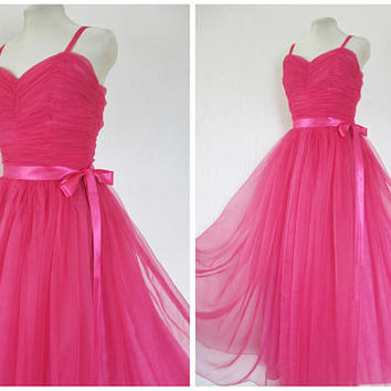 1950s Evening Dress 1950s Prom Dress Long Pink Chiffon Tulle Taffeta Wedding Bridesmaid Party Dress Ballgown S M
