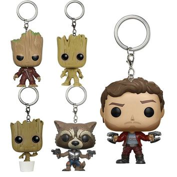 Guardians Of The Galaxy Movie Theme Key Ring Super Cute Grout Star Lord Rocket Raccoon Action Figure Collectible Model Toys Gift