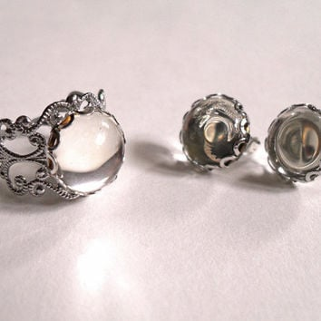 Jewelry Set - Dew Drops - Adjustable Ring & Matching Earrings Clear Glass Cabochons with Silver Plated Filigree - Romantic Retro Chic