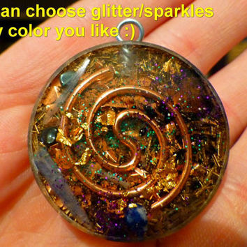 Dolphins and the Power of Five with LARIMAR - Mandala by Gail Alexander - Special Orgone Pendant ( 8 CRYSTALS )