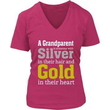 """""""Silver and Gold"""" Grandparent Women's V-Neck T-Shirts"""