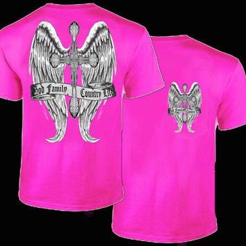 Country Life Outfitters Wings Cross God Faith Family Vintage Pink Bright T Shirt