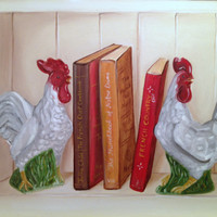 Still Life Original Oil Painting, Rooster Wall Art, Kitchen Decor, Country Cottage,French Country,Original Art,Chicken Painting,11x14
