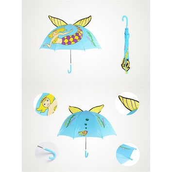 Cute Cartoon Animal Umbrella for Kids Animal Ears Bend Handle   Mermaid
