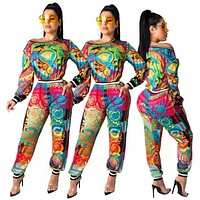 VERSACE Trending Women Casual Print Long Sleeve Top Pants Set Two Piece Sportswear