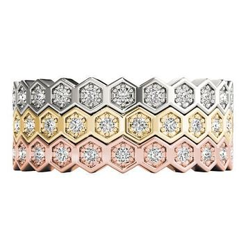 Stackables Full Eternity Tri-Tone Gold Honeycomb 3-Band Set Selectables