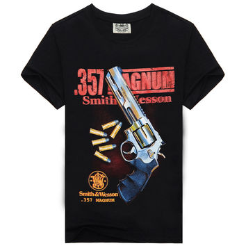 2016 New Arrivals Camisetas Famous Brand Funny 3D printed Gun T shirts Men Casual Hip Hop Summer T-shirt Mens Shirts