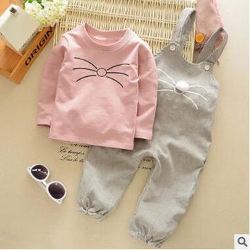 Retail 2017 new  boy and girl baby autumn suit clothes go out 2 overalls two-piece autumn fashion tide 1-4 years old