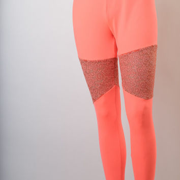 Neon Coral Dry Fit Leggings With Coral Floral Lace With Glitter, Women's Leggings, Plus Size Leggings, EDM Clothing, Rave Clothing