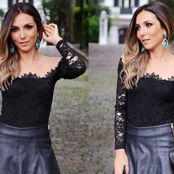 Black Off-shoulder Long Sleeve Lace Top