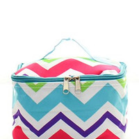 Multi-Chevron Small Cosmetic Bag - 2 Color Choices