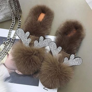 New Brown Round Toe Rhinestone Fashion Ankle Slippers