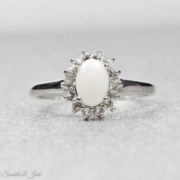 Sterling Silver Genuine Australian Opal and White Topaz Halo Ring