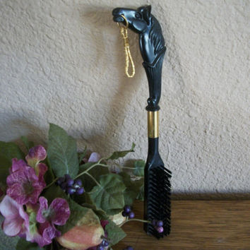 Thomas Doran Horse Head Lint Brush Mid-Century Equestrian Men's Grooming Accessory Art Deco Black and Gold Long Handled Vintage Coat Brush