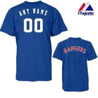 Texas Rangers Personalized Custom (Add Name & Number) ADULT MEDIUM 100% Cotton T-Shirt Replica Major League Baseball Jersey