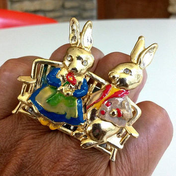 ReVamped Bunny Power Rabbit Couple Easter Two Finger Ring Adjustable Size 8 Re Purposed