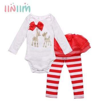Winter Cloth for Newborn Infant Baby Girls Christmas Deer Romper with Striped Pants My first Christmas Outfits Jumpsuit Costume