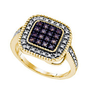 Cognac Diamond Micro Pave Ring in Sterling Silver 0.19 ctw