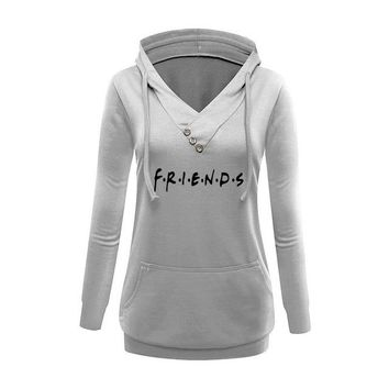 2018 New Fashion Friends Print Sweatshirts Tops Kawaii Hoodies Women Bts Clothings Thick Printing Creative Harajuku