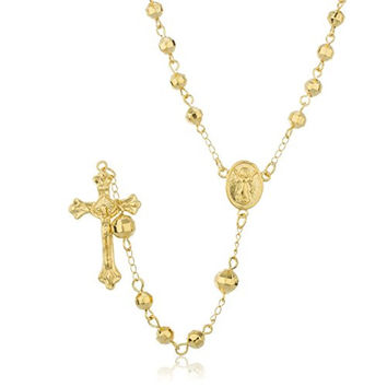 Two Year Warranty Gold Overlay Disco Ball Rosary Cross Pendant and Angel Charm with a 30 Inch Necklace