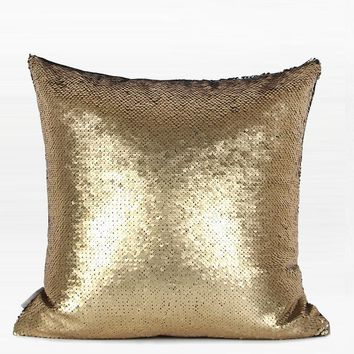 """Gold and Black Sequins Pillow 16""""X16"""""""