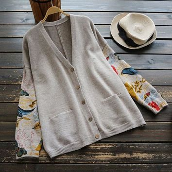 Japanese Mori Girl Sweater Women Clothing Autumn New Full Sleeved V-neck Printed Buttons Preppy Vintage Female Sweater Cardigan