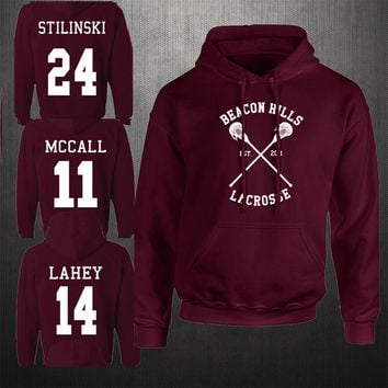 Fashion Men's Women Beacon Hills Lacrosse Hoodie Teen Wolf McCall Stilinski Lahey Unisex Sweatshirt