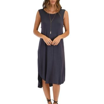 Lyss Loo Mood And Melody Side Slit Charcoal T-Shirt Dress