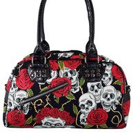 Banned Rockabilly Goth Forever Love Skull & Red Roses Bowler Handbag