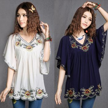 V-Neck Floral Boho Blouse Traditional Mexican Embroidered Shirt