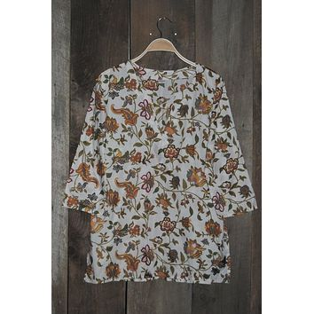 Cotton Tunic Top Mustard Floral