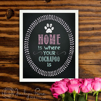 Printable wall art decor: Home is where your cockapoo is (Instant digital download - JPG)