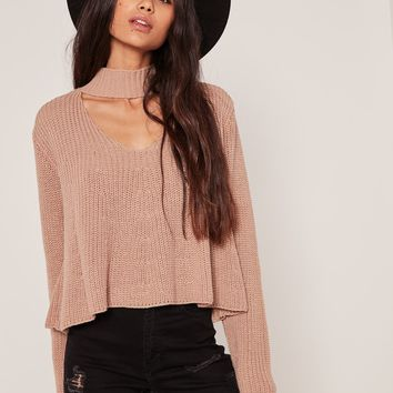 Missguided - Nude Choker Neck Chunky Cropped Jumper