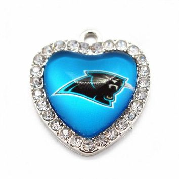 New arrive Heart Crystal Carolina Panthers football team Sports Glass Pendant Dangle Charms Fit Necklace Fashion Jewelry