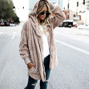 Laamei Female Long Sleeve Fuzzy Jacket Fashion Open Stitch Hooded Coat Spring Women Faux Fur Teddy Bear Coat Jacket New Year