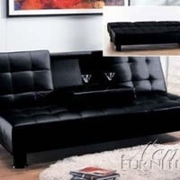 Coaster Futon Sofa Bed with Removable Arm Rests, Brown Vinyl