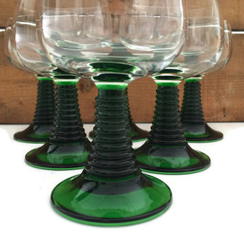 French Wine Glasses Luminarc Roemer Stacked Stem Cristal D'Arques-Durand Set of Six, Green Wine Glasses