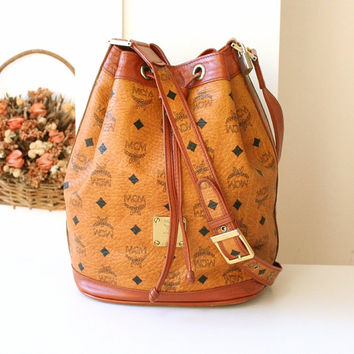 MCM Bag Visetos Cognac Brown Drawstring Canvas Leather Authentic Shoulder Vintage Handbag Germany Drawstring Purse